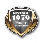 1979 Year Dated Vintage Shield Retro Vinyl Car Motorcycle Cafe Racer Helmet Car Sticker 100x90mm